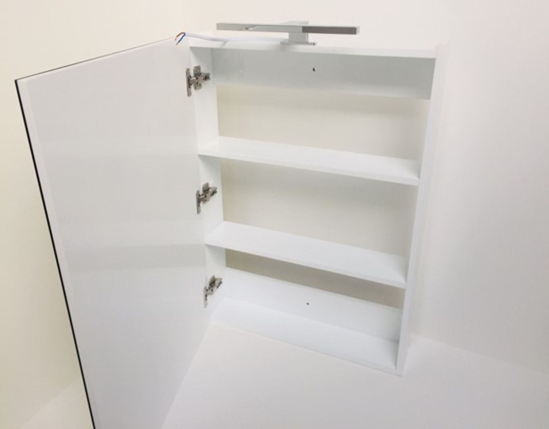 Lot 30 - x 5 Mirrored Cabinets In White With LED Light