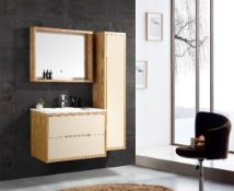 Bathroom Vanity Unit & Glass Basin - Side Draw - Mirrored Cabinet & LED Light