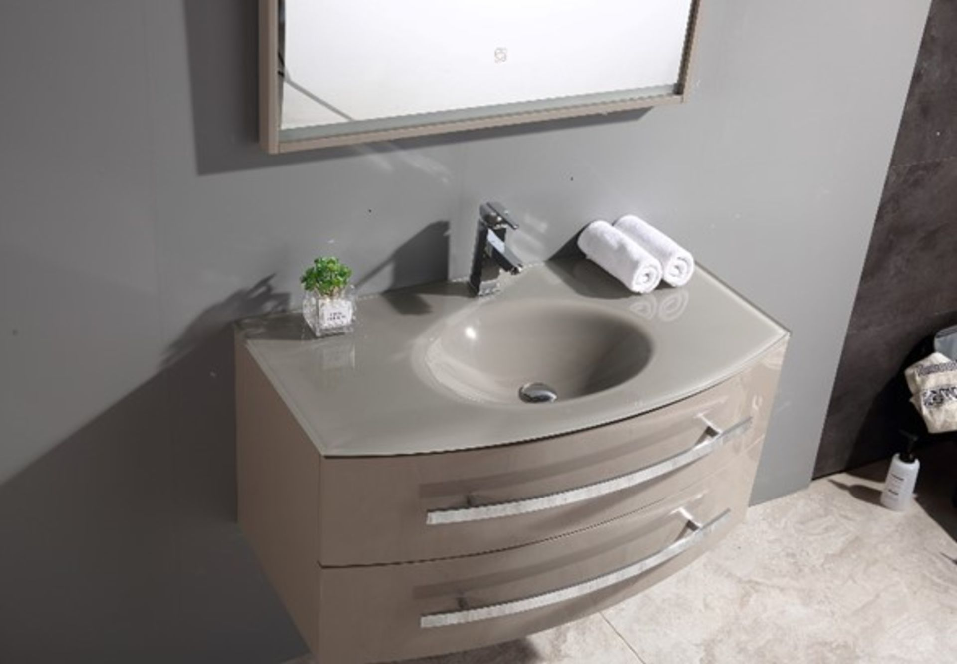 Lot 15 - Miura Bathroom Vanity Unit & Glass Basin Sink