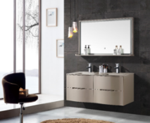 Miura His & Hers Vanity Unit Double Glass Basin Sink Bathroom LED Mirror