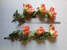 6 Artificial Orange Chrysanthemums - Stems cut short