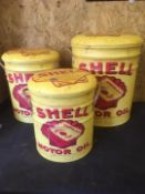 Set Of 3 Shell Metal Stools With Storage