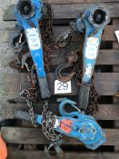 3 NO OF 1.5T Lever hoists 1.5M HOL 2 x Tractel 1 x Nitchi