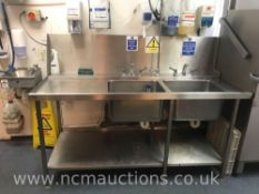 Large Double Dishwashing Sink with Spray Tap