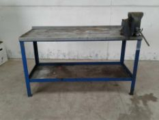Steel work bench woth vice