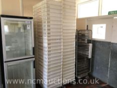 Approximately 50 Plastic Bakery Trays and Trolleys