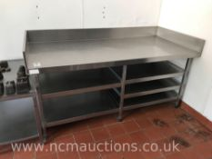Stainless Steel Preperation Counter with Undercounter Shelves