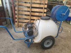 Barrow sprayer, 120ltr, electric pump 230V + hose reel