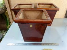 Set of 3 Brown Glazed planters