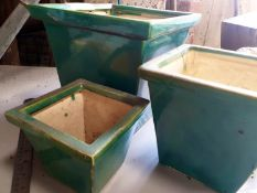 Set of 3 Green glazed planters