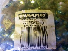 30 x bags of 100 Techscrews - 5.5 x 32mm - Rawlplug self drilling screws with washers