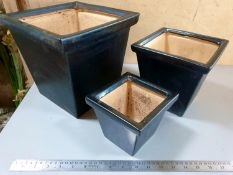 Set of 3 Black Glazed planters