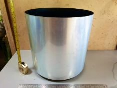1 Circular indoor brushed steel effect planter - 37cm dia x 36cm high