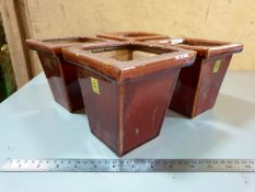 Set of 4 Small Brown Glazed planters