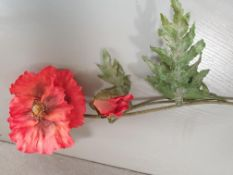 20 x Artificial Poppy - 1 open flower and 1 bud - 70cm - used but good