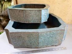 1 pair of galvanised planters - different sizes but same style - 60 x 60 x 16 and 45 x 45 x 12