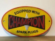 Champion 'Spark Plugs' Cast Iron Sign