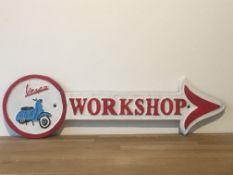 Vespa Cast Iron Workshop Arrow Sign