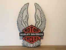 Harley Davidson Motorcycles Cast Iron Tall Wing Sign