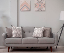 Light Grey Fabric Sofa 3 Seater