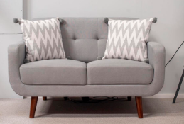 Light Grey Fabric Sofa 2 Seater