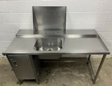 Stainless Steel Righthand Dishwasher Entry/Inlet Sink with Cupboard