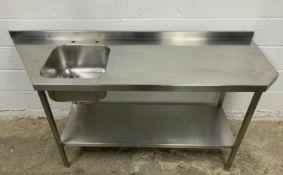 Stainless Steel Single Bowl Sink & Prep Table