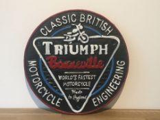 Cast Iron Triumph Motorcycles Sign