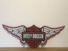 Cast Iron Harley Davidson Motorcycles Wing Sign