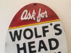 Cast Iron Wolf Head 'Oil & Lubes' Sign