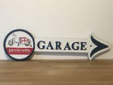 Cast Iron Lambretta Garage Arrow Sign