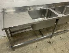 STAINLESS STEEL DOUBLE BOWL SINK WITH DOUBLE DRAINER