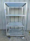 Aluminium 4 tier shelves on wheels