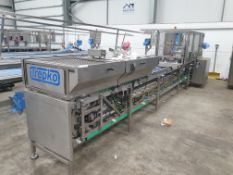 TREPKO Sandwich Triangular Cartoning Machine with Card In-Feed to Dual Lane Manual Sandwich Placemen