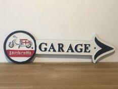 Lambretta Cast Iron Garage Arrow Sign