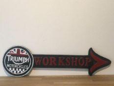 Triumph Motorcycles Cast Iron Workshop Arrow Sign