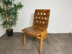 Mid Century Wooden Chair With Hole Detail