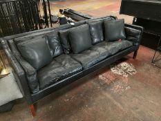 3 Seater Black Leather Sofa with Leather Cushions