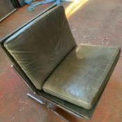 Green Leather Lounge Chair