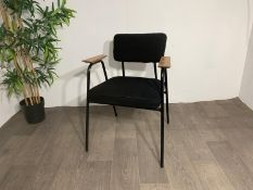 Black Commercial Grade Chair with Wooden Arm Rest