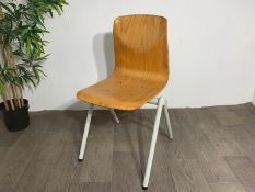 Mid Century Wooden Chair with Steel Legs