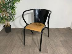 Adico 5008 Black Chair With Wooden Seat