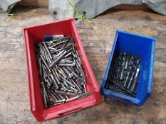 Plastic Containers x2 Including a Variety of Drill Bits