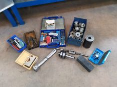 Miscellaneous Lot Compromising of Plumb Line, Tapping items, Measuring Callipers and Thread Tappers