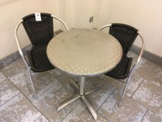 Chrome Frame Chairs x 2 & chrome bistro table