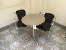 Chrome Frame Chairs x 2 and chrome bistro table