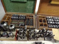 2 wood cases w/boring heads & mill holders
