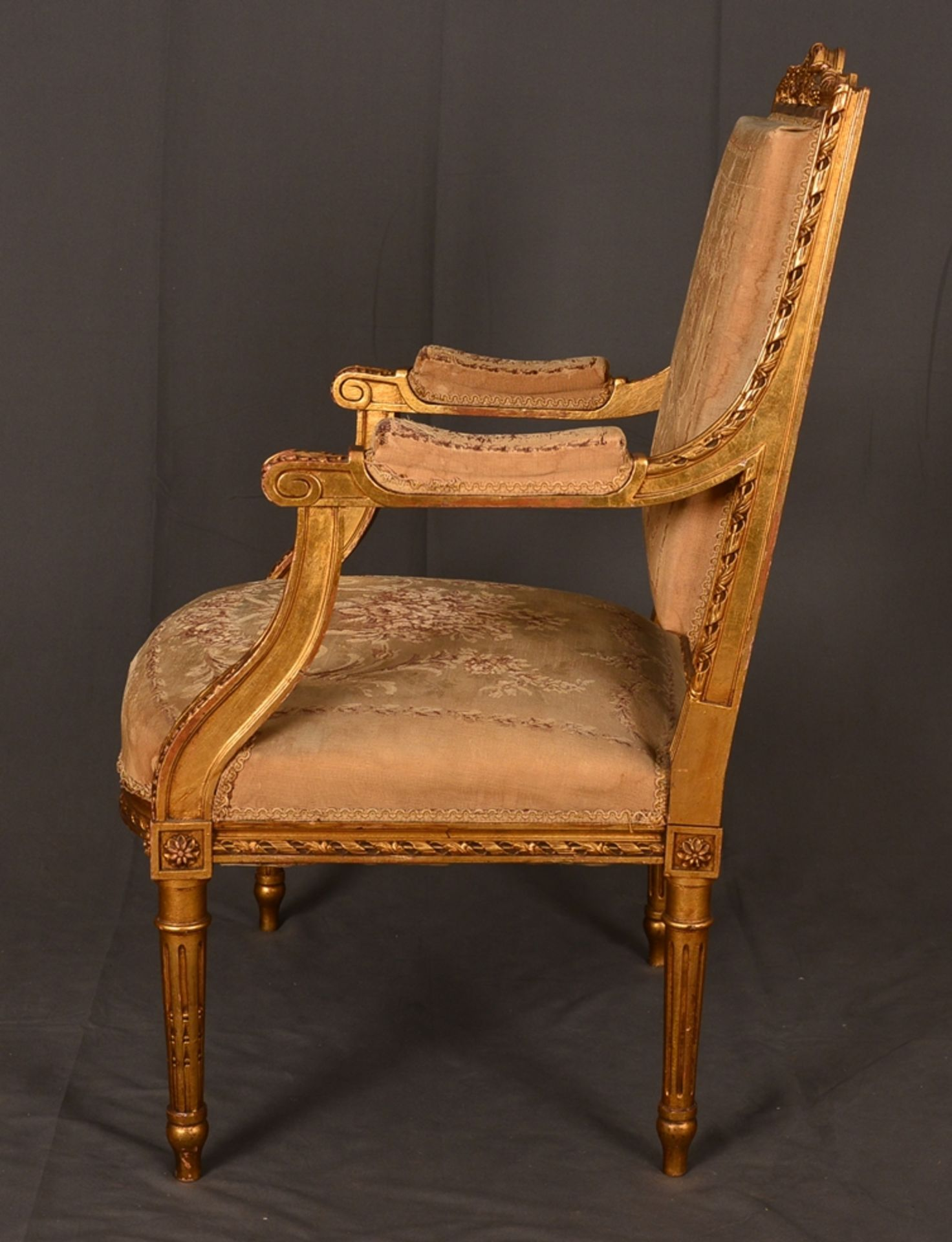 Eleganter Armlehnstuhl sog. Fauteuil, Louis XVI-Stil, Frankreich um 1890, originale Stoffbespannung, - Bild 10 aus 12