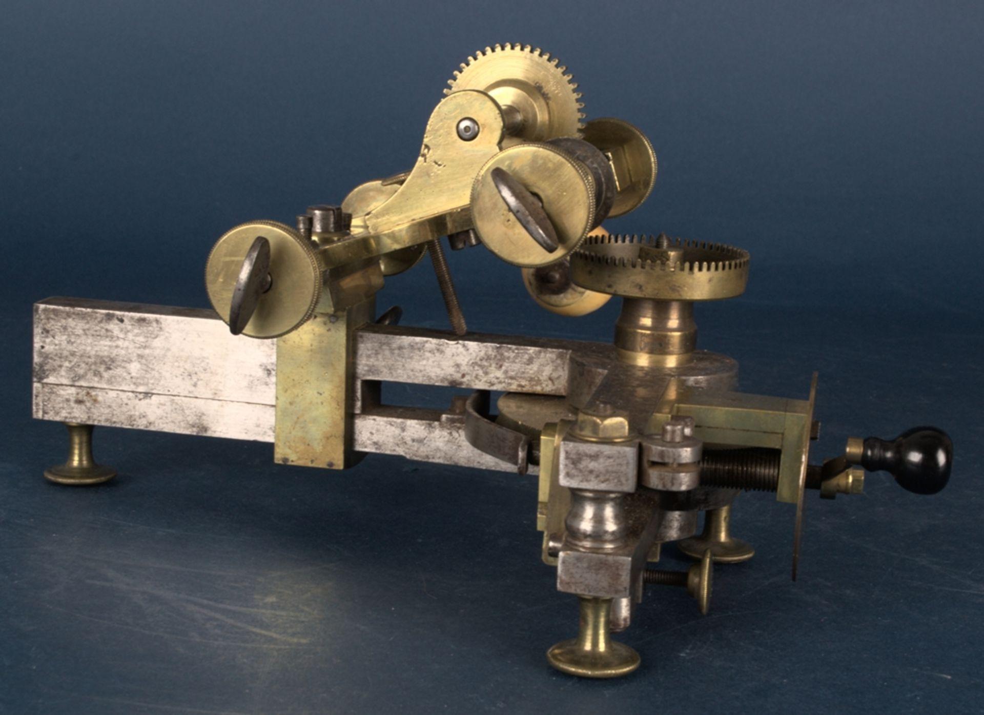 Zahnradfräsmaschine/Zahnräderschneidemaschine, frühes Uhrmacherwerkzeug, deutsch Mitte 18. Jhd., - Bild 2 aus 29