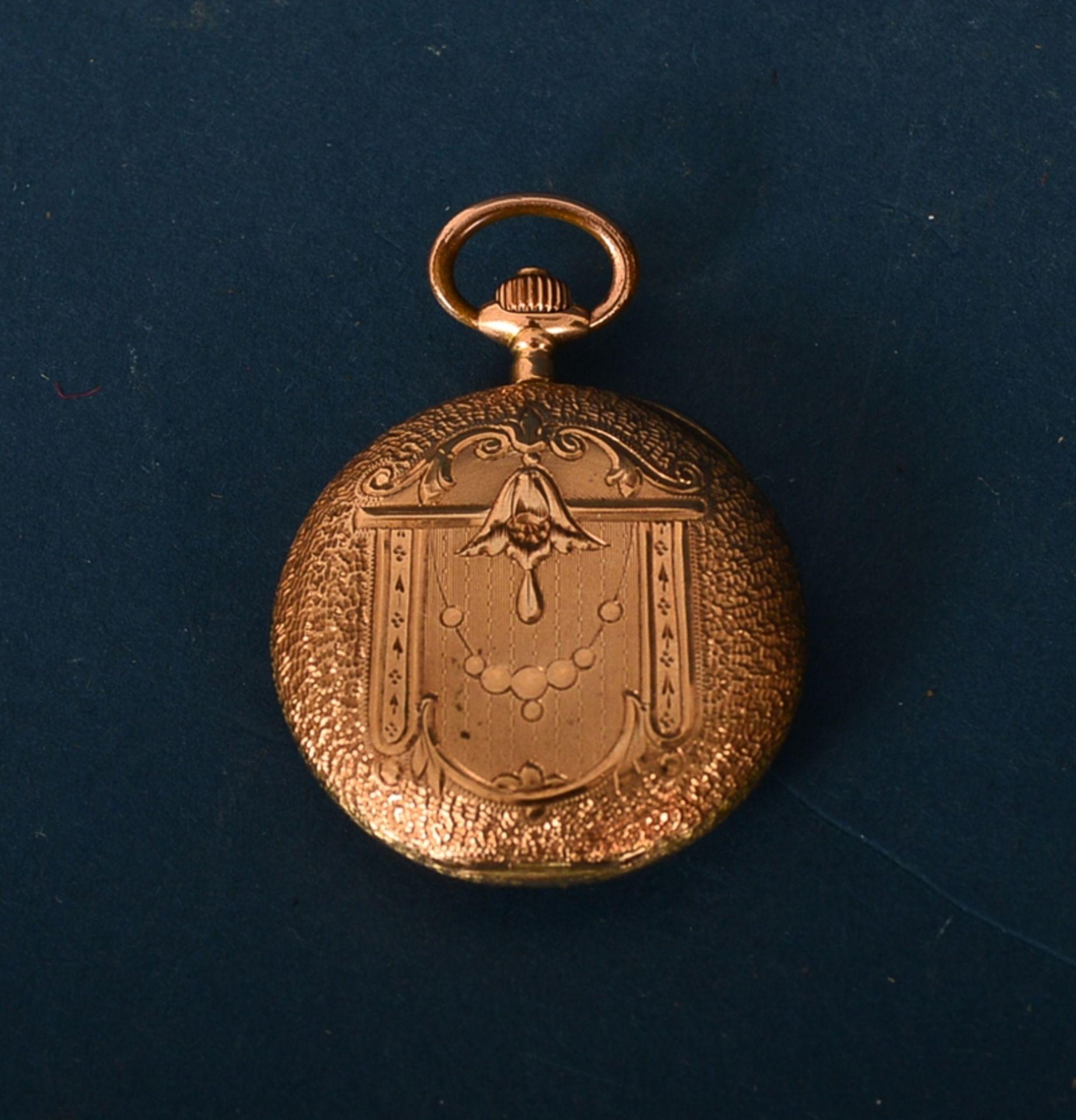 """585er Damen-Taschenuhr im Geschenketui des """"Uhrmacher S. Freund aus Marburg an der Lahn"""". Vorderer - Bild 4 aus 6"""